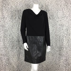 NWOT Calvin Klein Half Leather Drape Dress Size 14
